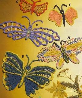 Crochet butterflies chart patterns