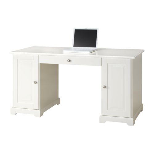 LIATORPDesk, white white 57 1/8x25 5/8 , again,  I would paint and change the hardware at this price!