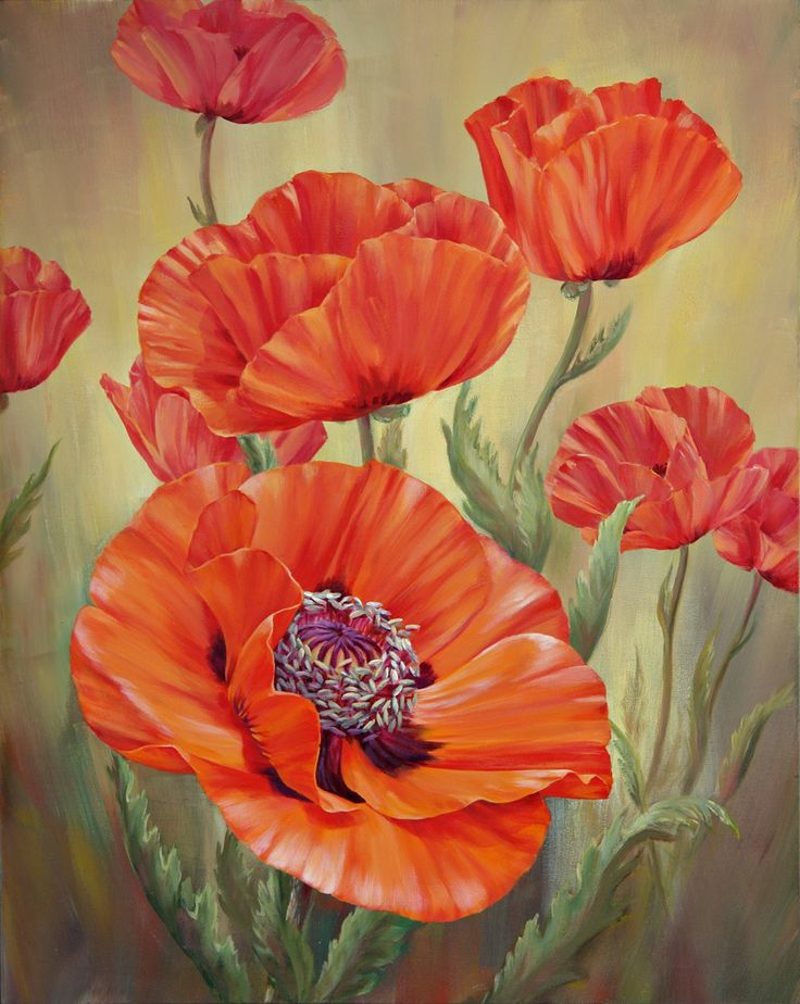 Marianne Broome-Poppy Dance V. Original Paintings (Acrylic)