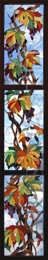 """Stained Glass of the three parts of the """"Grapes"""". Technique """"Tiffany"""", colored glass art, made in the USA."""