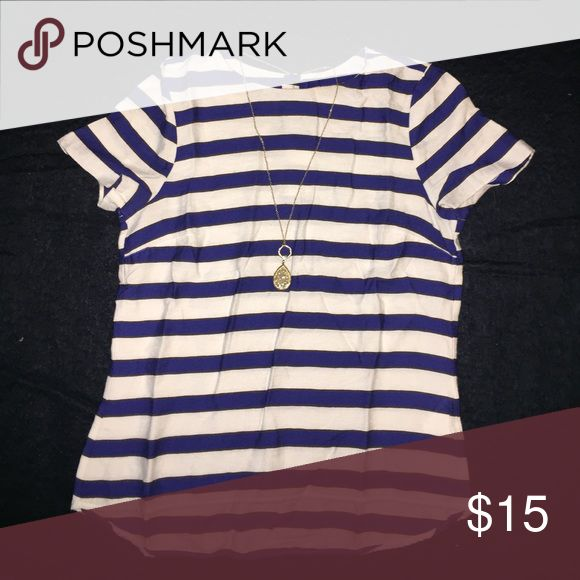 H&M Navy and White Striped Blouse Like new. Very cute Nautical Blouse H&M Tops Blouses