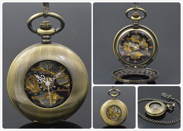 SHUHANG Brand Steampunk Mechanical Pocket Watch Roman Number Half Hunter Antiqued Black Hollow Case