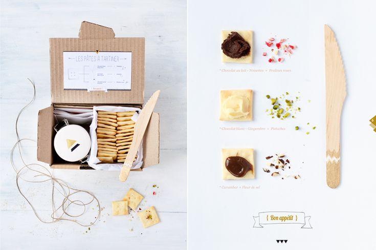 petit kit de crackers faits maison avec 3 pâtes à tartiner