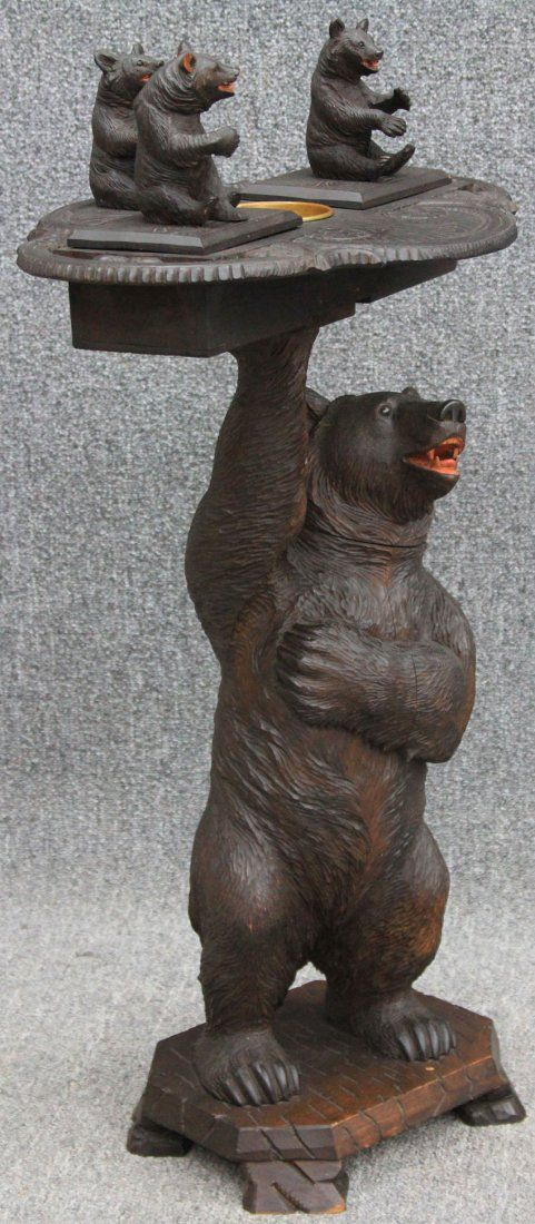 BLACK FOREST CARVED BEAR STAND with Swiss Musical Box late 19th century