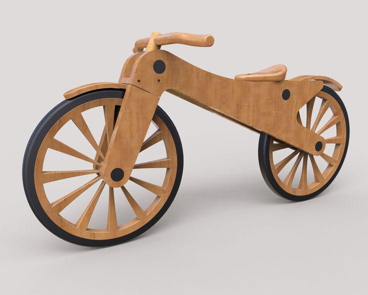 Diseño en 3D y renderizado de bicicleta infantil en madera