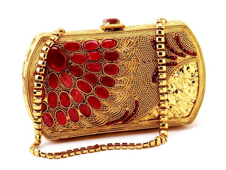 Admirable gold plated brass metal #Clutch #Purse studded with pink stones.  Item Code : SJBP2008 http://www.bharatplaza.com/new-arrivals/accessories.html
