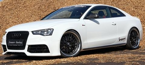 2012 Senner Tuning Audi S5 Coupe- full coil over kit to the suspension, V6 with 429 horsepower and 370 lbs-ft of torque, mechanically-driven supercharger, 2-part motor cover, power converter, and performance racing air-filter, with a 4-pipe RS5 exhaust scheme that extends from the catalytic-converter. i fell in love.