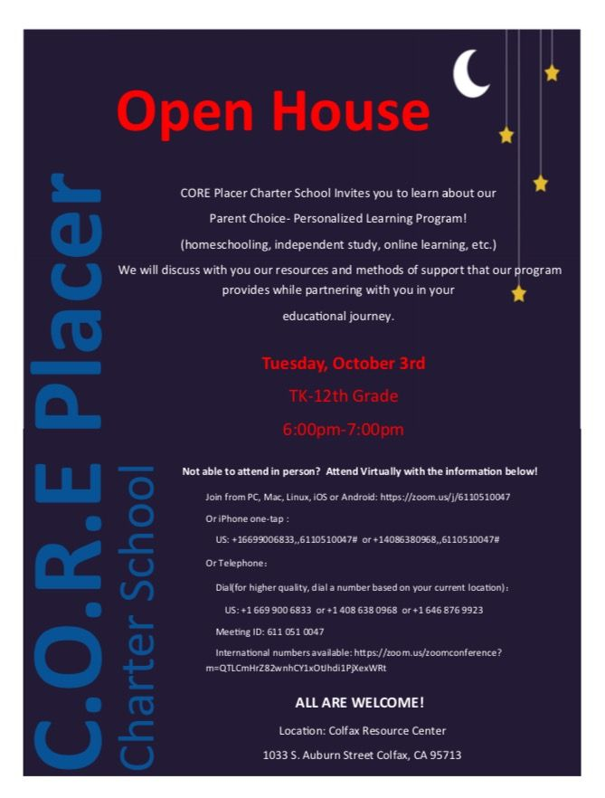 Weren't able to make our Open House today? Don't Worry! We have another Open House next Tuesday, October 3rd! Come learn all about our #parentchoice #personalizedlearning program! Bring friends and family! #coreplacer #welovecoreplacer #followus #homeschool #openhouse #allarewelcome #fun #indepdentstudy #friends #family