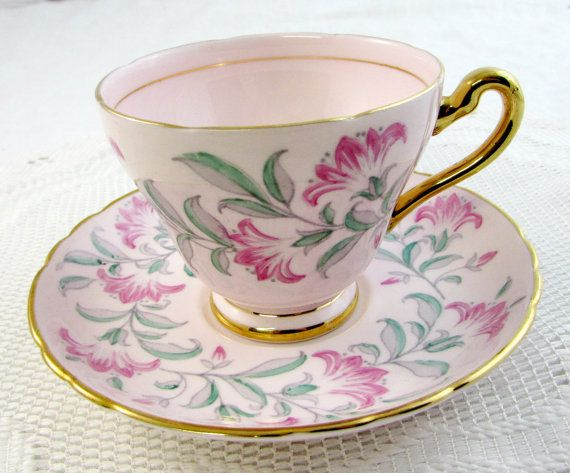 Vintage Tuscan Pink Tea Cup and Saucer with Flowers and Gold Handle, Fine English Bone China