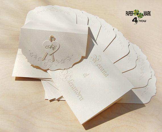 Personalized Wedding Invitations Embossed Flower Wedding