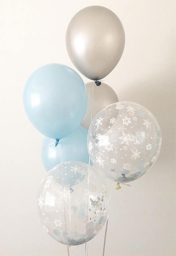 Light Blue Silver Snowflake Latex Balloons Winter Onederland