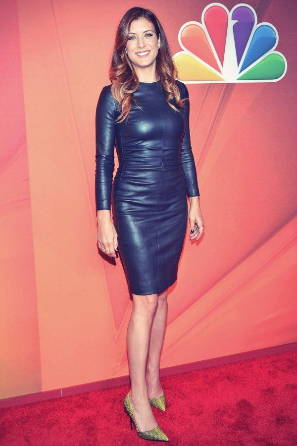 Kate Walsh attends the 2014 NBC Upfront Presentation  Celebs in leather  Kate walsh Leather