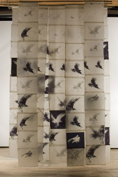 Bird Screen II, Catherine Eaton Skinner, Tibetan Paper/Archival Ink/Encaustic/Thread/Bamboo: