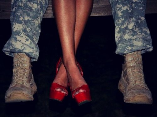 If i ever marry a military man, and possibly have super amazing legs like hers, I want this photo.