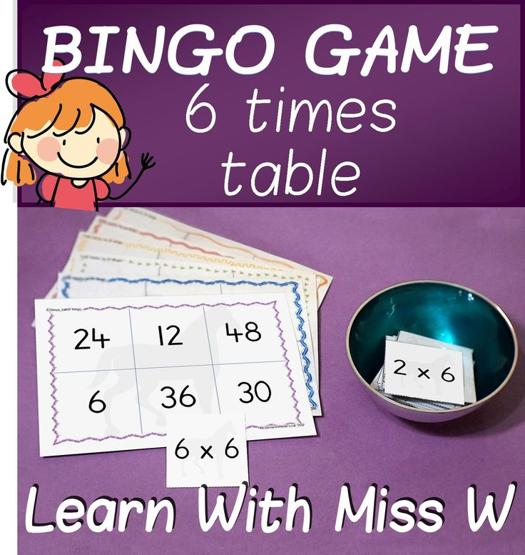A fantastic bingo game for learning the multiplication facts from the 6 times table. Use as a maths centre, station, free play or supported by an adult. You can also download my discounted 2 - 10 times table bundle. #math #timestable #learningisfun