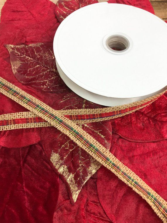 1 Yard of Festive Holiday Burlap with Red and Green Plaid Fabric