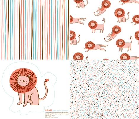 Roar! Lion Collection Sampler fabric by niseemade on Spoonflower - custom fabric