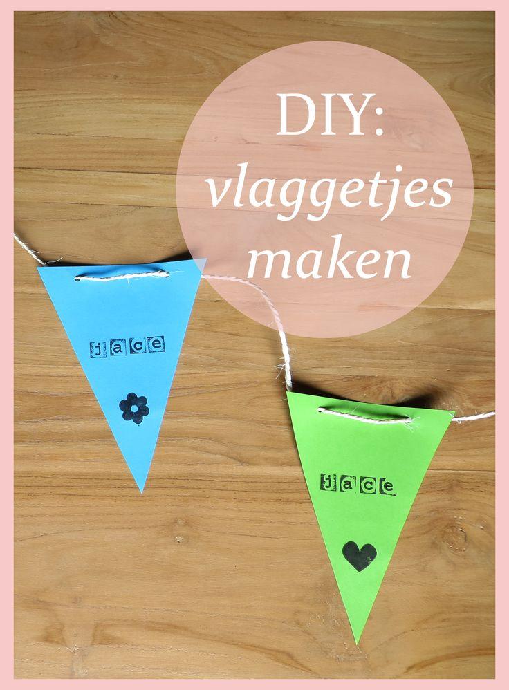 Zelf vlaggetjes maken van papier en touw!