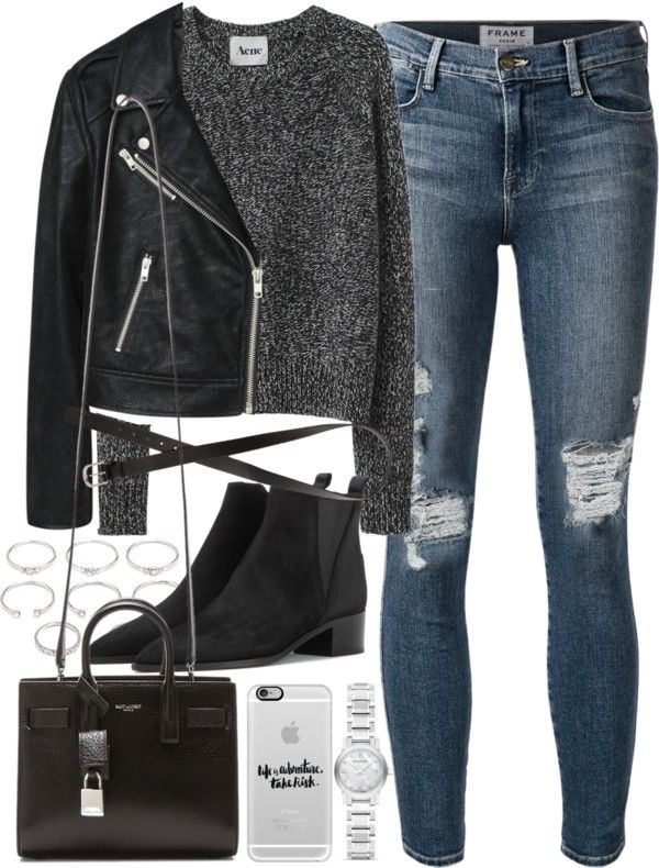 Outfit for a casual dinner date by ferned featuring long sleeve shirts Acne Studios long sleeve shirt, 360 AUD / MANGO motorcycle jacket, 98 AUD / Frame Denim ripped skinny jeans, 470 AUD / Acne Studios black boots / Yves saint laurent bag, 2 885 AUD...