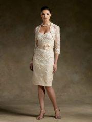 Svatební šaty Creme č. 4, kostým pro maminky, krátké šaty, svatební kostým - Salón Nobless - půjčovna a prodejna svatebních a společenských šatů, doplňků, dekorací