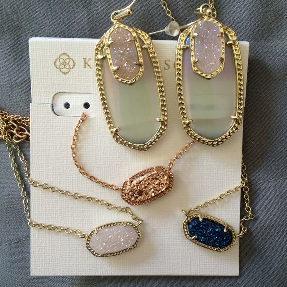 My Drusy Collection✨ Just sharing! Not for sale! Just added: Rose Gold Drusy and Blue Drusy Elisa's!!!!!! Already in my collection was the Iridescent Drusy Elisa and Emmys✨ Kendra Scott Jewelry Necklaces