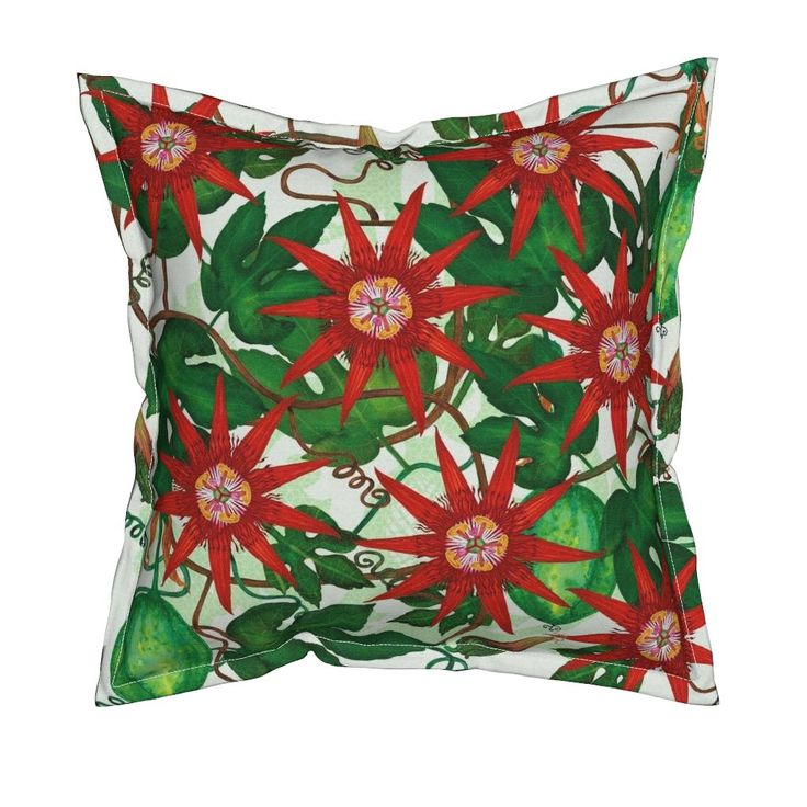 Serama Throw Pillow featuring Passiflora vitifolia by joancaronil | Roostery Home Decor