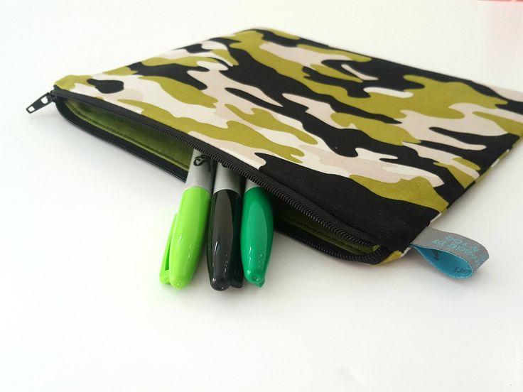Camo pencil case, gifts for boys. Fully lined. All seams hidden.  #ollieandroo #pencilcase #handmade #shophandmade #etsyuk