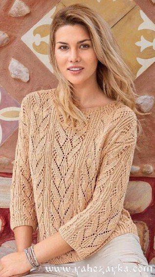 Узорчатый пуловер спицами описание. Как связать пуловер ажурным узором