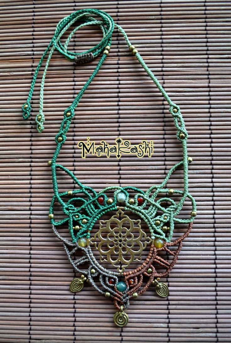 "Macrame necklace ""Mandala meditation"" with tribal brass charms and Agate beads by MahakashiCreations on Etsy https://www.etsy.com/listing/248970620/macrame-necklace-mandala-meditation-with"