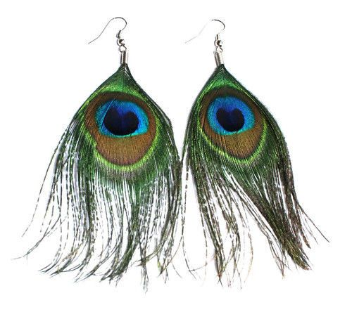 ORECCHINI PIUME di PAVONE PENDENTI piuma donna fashion nuovi feathers Earrings