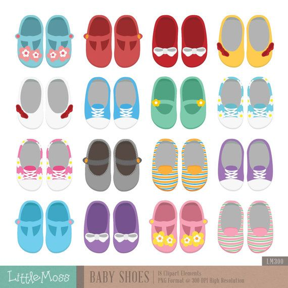 Baby Shoes Digital Clipart by LittleMoss on Etsy