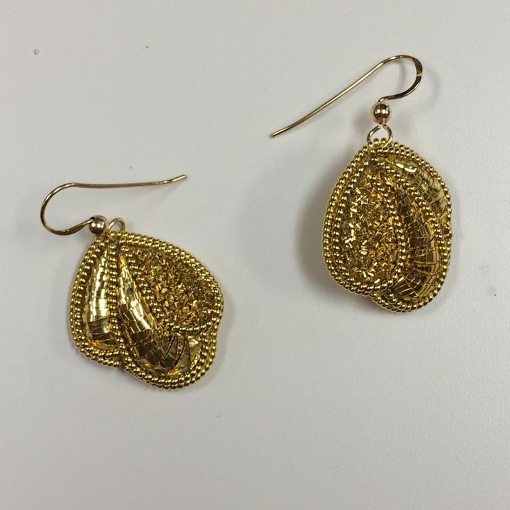 Goldwork drop earrings. #embroidery #goldwork #jewellery