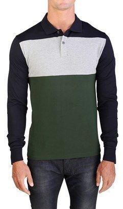 Moncler Men's Gamme Bleu Long Sleeve Tri-color Polo Shirt ...
