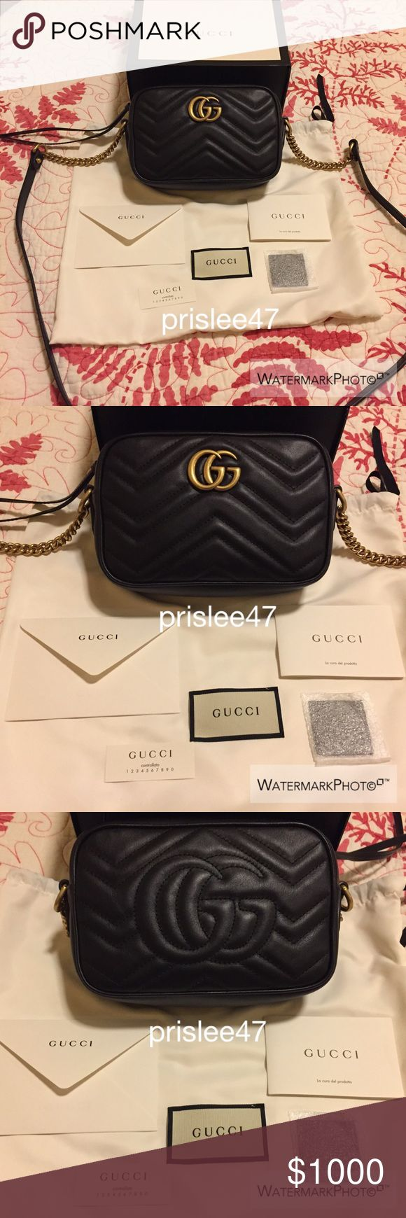 Gucci Marmont Mini in Black More details on Ⓜ️. Let me know if you have any questions :) Gucci Bags Crossbody Bags