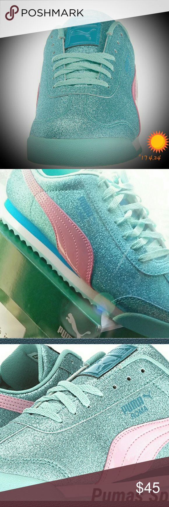 Puma Roma Glam in Aqua Blue! Glitz & Glam with these Lovely Pumas in Aqua Blue Shine! Brand New Size 6y or 7.5 in Woman or 8 If you like a snug fit; -) Puma Shoes Sneakers