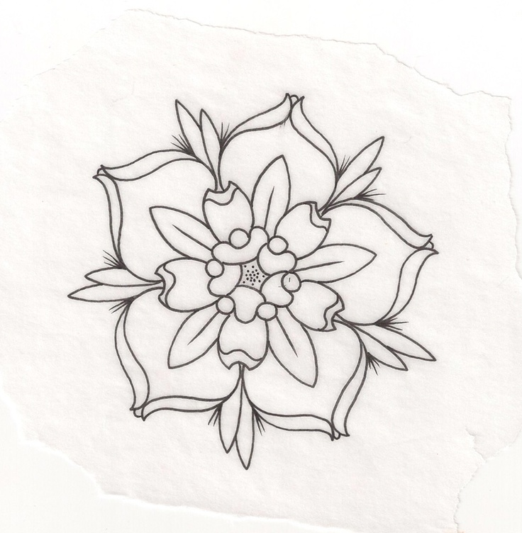 Flower Tattoo Outline Drawing