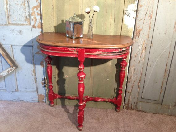 Vintage Accent Table, Rustic Half Moon Table, Distressed Furniture