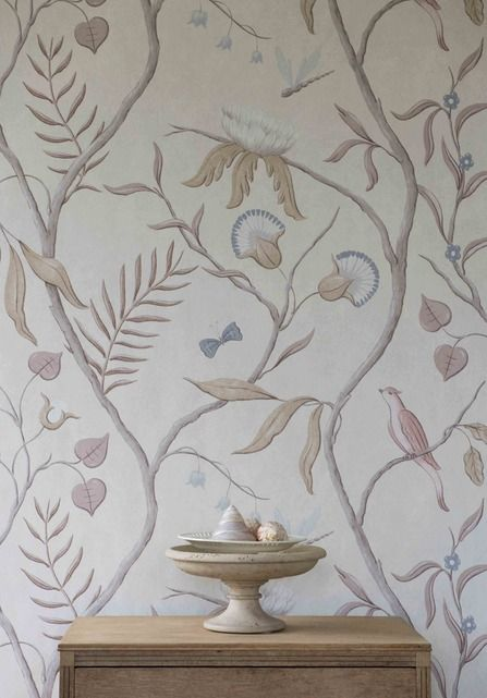 Big bold patterns in bedrooms can sometimes be rather unrelaxing, but Adam's Eden in Snowbird from Lewis & Wood has just the right balance of softness and interest.
