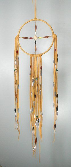 Four Direction Healing Medicine Wheel made with deer hide, buffalo horn and bone hairpipe beads of red, yellow, black and white, the Sacred Four Directions colors. Glass trade beads, brass and silver beads, silver cones.