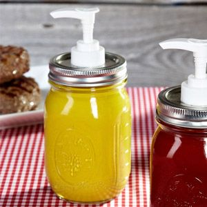 Mason Jar Condiment / Soap Dispensers. I've seen DIYs to make mason jar soap dispensers, but I never thought to use them for condiments! Would be so cute for a country theme outdoor event.