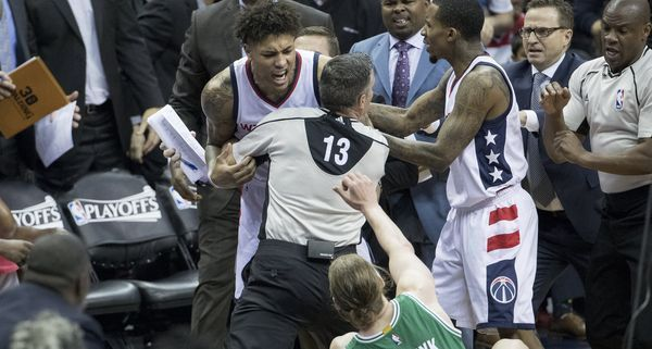 Oubre charged at the Celtics' Kelly Olynyk after a hard screen and was ejected from Game 3.