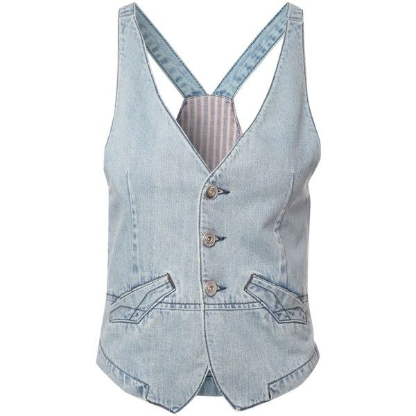Jane Norman Denim waistcoat ($20) ❤ liked on Polyvore featuring outerwear, vests, vest, tops, chaleco, denim light wash, women, vest waistcoat, blue denim vest and summer vest