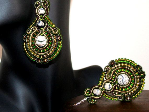 Beautiful Large Green Soutache Earrings for Women by margoterie