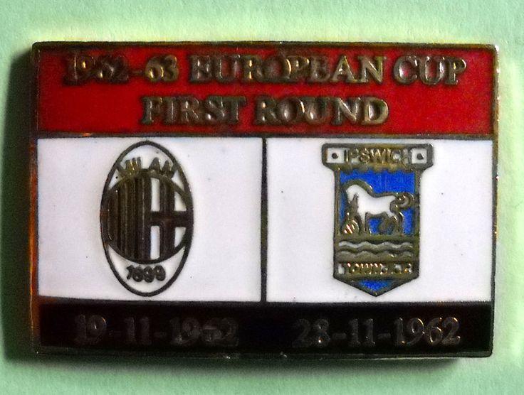 DISTINTIVO SPILLA PIN - MILAN-IPSWICH - COPPA CAMPIONI 1962-63 - cod.1079V