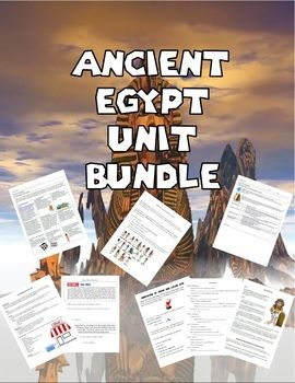 This HUGE bundle has everything that you need for your Unit on Ancient Egypt: Include are: 1. 52 Slide Presentation on Ancient Egypt 2. Guided Notes that go along with the presentation 3. Analysis of Egyptian Culture WS 4 Ancient Egypt Map Coloring 5.