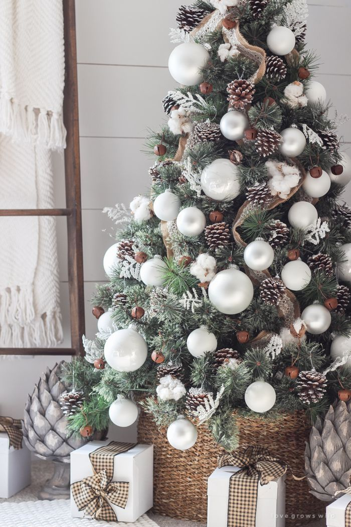 Burlap Ribbon From Top To Bottom Large White Balls Pine Cones Rusty Metal Be Christmas Tree Inspiration Cool Christmas Trees Best Christmas Tree Decorations