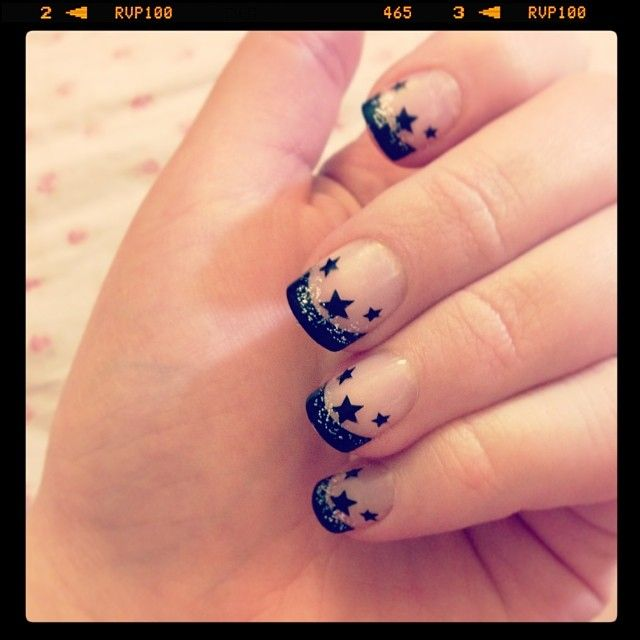 This Pin was discovered by Nails Inspiration. Discover (and save!) your own Pins on Pinterest. | See more about glitter nail art, black stars and colorful nail designs.