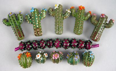 Palm Tree Queen Lampwork Glass Art Beads Handmade