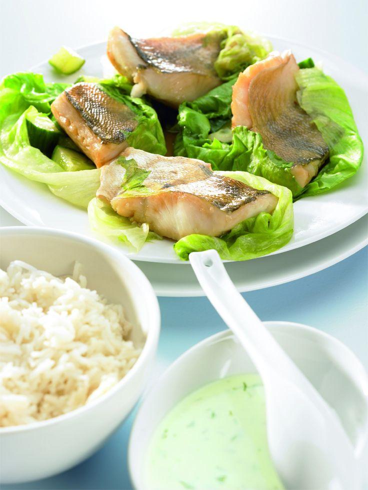 Frisch, lecker und schnell zubereitet ist das Thermomix-Rezept für Zanderfilet im Salatblatt mit Feta-Zitronensauce.