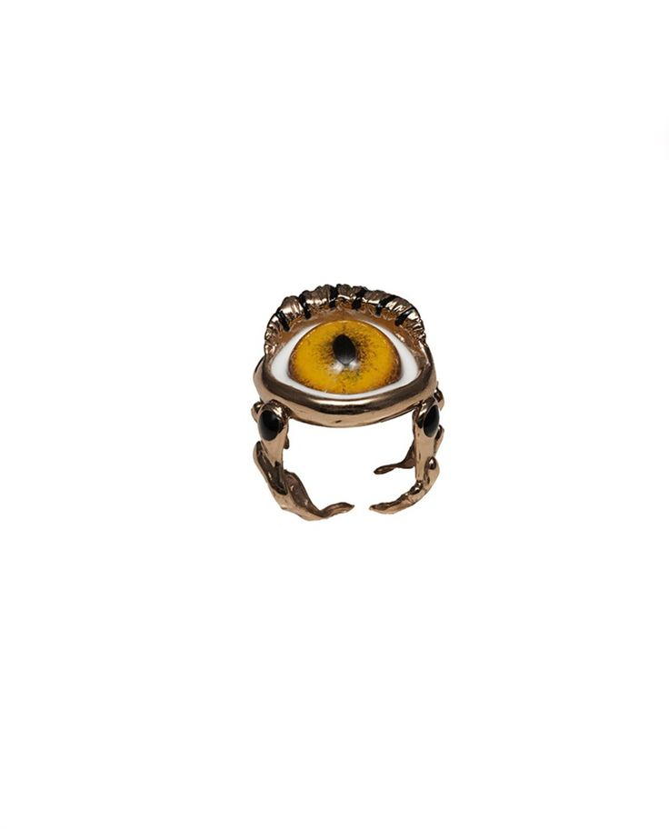BERNARD DELETTREZ RING WITH EYE  Bronze ring with hand-painted eye